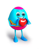 Happy Easter Egg with heart shape Stock Images