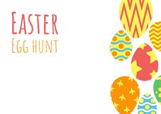 Happy easter egg hunt background. Happy easter background, easter egg hunt template, vector illustration Stock Images