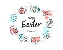 Happy Easter egg hunt  illustration. Holiday banner design with hand drawn eggs and watercolor blots. Hand drawn lettering. Royalty Free Stock Image