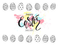 Happy Easter egg hunt  illustration. Holiday banner design with hand drawn eggs and watercolor blots. Hand drawn lettering. Royalty Free Stock Photography