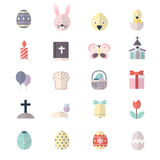 Happy Easter and Egg Icons Flat Color. This is graphics vector Illustration icons. Ready to use for websites, social medias, presentations, applications, info Royalty Free Stock Photo