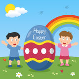 Happy Easter Egg with Kids. Two happy kids with a big Easter egg in a park with flowers and rainbow. Useful also as Easter greeting card. Eps file available vector illustration