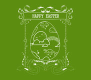 Happy easter egg ornament. Floral Frame Stock Photo