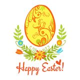 Happy Easter. Egg with ornament on a white background with green leaves and flowers and the words Happy Easter Stock Photography