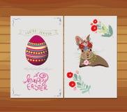 Happy easter egg, rabbit invitation florals Stock Photos