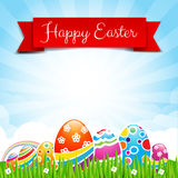 Happy easter egg text with ribbon on Nature background 002 Royalty Free Stock Photos