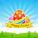 Happy easter egg text with ribbon on Nature background Stock Photo