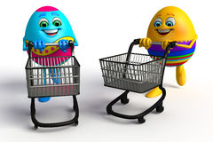 Happy Easter Egg with trolley Stock Photos