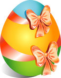 Happy Easter egg on a white background, multicolored with a bows.  Stock Photo