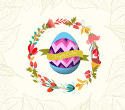 Happy easter with egg and wreath flower greeting card Stock Photos
