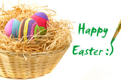 Happy Easter eggs. Happy Easter sign with eggs in the basket Royalty Free Stock Photography