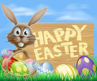 Happy Easter eggs basket bunny Royalty Free Stock Photography