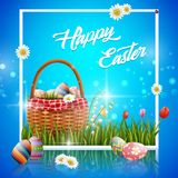 Happy easter eggs with basket and flowers on blue background. Illustration of Happy easter eggs with basket and flowers on blue background Stock Photos
