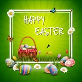 Happy easter eggs with basket and flowers on green background. Illustration of Happy easter eggs with basket and flowers on green background Stock Photos