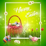 Happy easter eggs with basket and flowers on green background. Illustration of Happy easter eggs with basket and flowers on green background Stock Photo
