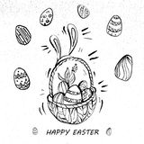Happy Easter Eggs On A Basket Line Art retro style. Easter Eggs On A Basket Line Art Royalty Free Stock Photography