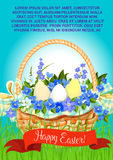 Happy Easter eggs basket vector greeting poster Royalty Free Stock Photo