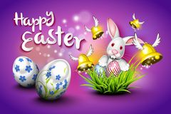 Happy Easter, eggs, bells and rabbit. Over purple background. A nice greeting card vector illustration
