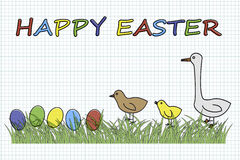 Happy Easter. With eggs and birds in grass illustration Royalty Free Stock Image