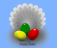 Happy Easter. Easter eggs on blue background Royalty Free Stock Image