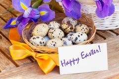 Happy easter - eggs and blue irises stock image