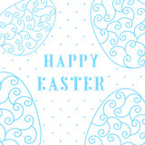 Happy Easter Eggs blue on a white. Easter banner background template with white contour  eggs. Vector illustration. EPS10 Stock Photos