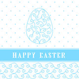 Happy Easter Eggs blue on a white. Easter banner background template with white contour  eggs. Vector illustration. EPS10 Stock Photography