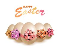 Happy Easter Eggs With Bow Stock Photo