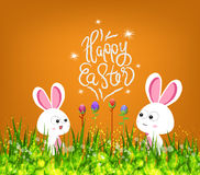 Happy easter eggs and bunny.  Royalty Free Stock Photography