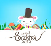 Happy Easter eggs and Bunny banner.  vector illustration