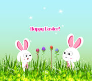Happy easter eggs and bunny Royalty Free Stock Images