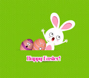Happy easter eggs and bunny funny greeting card Stock Photo