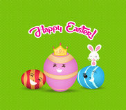 Happy easter eggs and bunny greeting card Royalty Free Stock Photography