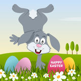 Happy Easter with Eggs and a Bunny Rabbit Royalty Free Stock Photography