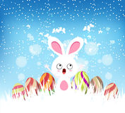 Happy easter eggs and bunny winter background Royalty Free Stock Photography