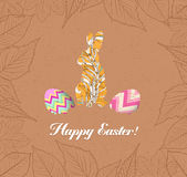 Happy easter eggs and bunnys with leaves greeting card Royalty Free Stock Photo