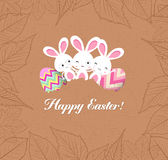 Happy easter eggs and bunnys with leaves greeting card Royalty Free Stock Photos