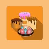 Happy Easter, eggs, cakes. Set of Easter treats, icon Royalty Free Stock Images