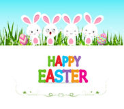 Happy Easter eggs card with bunny and lettering Royalty Free Stock Photography