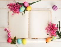 Happy Easter Eggs Card with open book and blank paper pages with room or space for copy, text, wording, all on shabby chic shiplap. Above view of an open, blank stock images