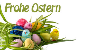 Happy Easter with eggs and chicks Stock Photos
