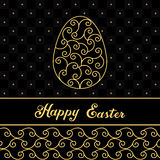 Happy Easter Eggs contour on a blue. Easter banner background template with colorful contour eggs. Vector illustration. EPS10 Royalty Free Stock Photography