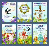 Happy Easter eggs and crucifix in flowers cards. Happy Easter greeting cards of paschal eggs, Jesus crucifix cross and lamb with Christianity flag. Vector stock illustration