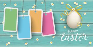 Happy Easter Eggs Daisy Wooden Price Stickers Turquoise Header. Price stickers with daisy flowers and easter egg on the wooden background Royalty Free Stock Photo