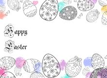 Happy Easter Eggs drawing with colors and white background. Happy Easter Eggs black drawing with white background and water color dots with decorative empty Royalty Free Stock Photography