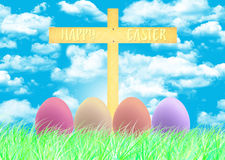 Happy Easter and eggs Easter. Sky backgrounds Stock Photography