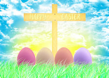 Happy Easter and eggs Easter. Sky backgrounds Royalty Free Stock Photos