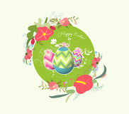 Happy easter with eggs and florals Stock Photos