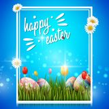 Happy easter eggs and flowers on blue background. Illustration of Happy easter eggs and flowers on blue background Stock Photos