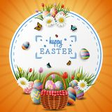 Happy easter with eggs and flowers on circle background. Illustration of Happy easter with eggs and flowers on circle background Stock Images